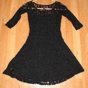 Material Girl Short-Sleeve Lace Skater Dress XS